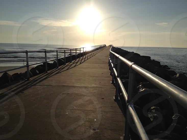 Sunrise Ponce Inlet Jetty Florida.  photo
