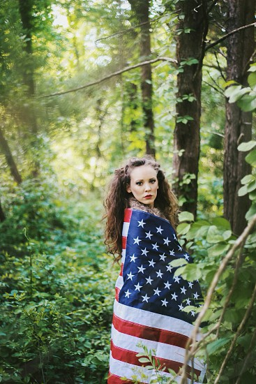 woman wearing american photo