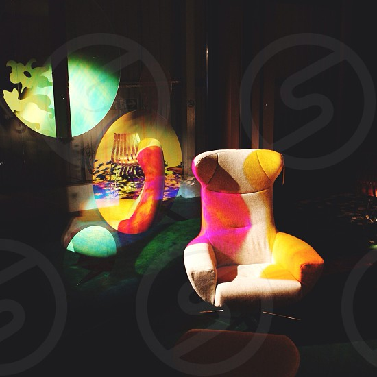 yellow and red padded lounge chair photo