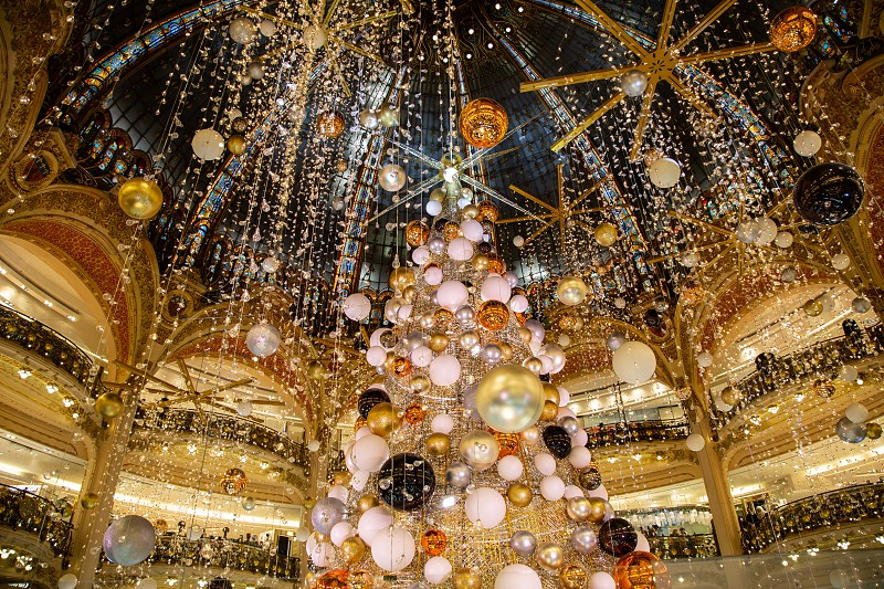 Christmas decorations in a shopping mall in France Europe photo