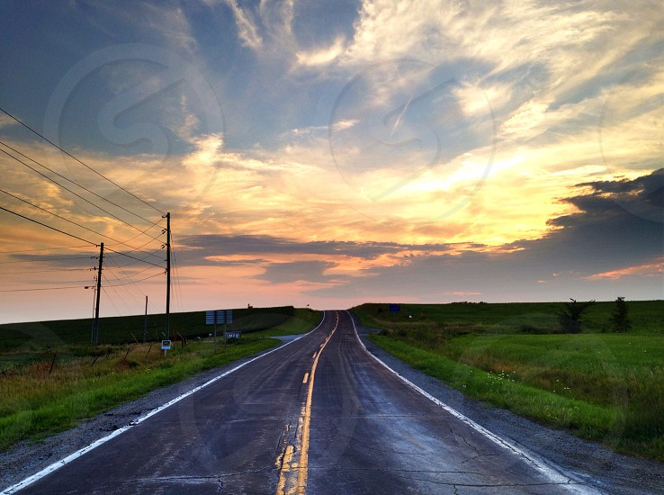 Highway sunset sky country scenic freeway Street Road yellow line photo