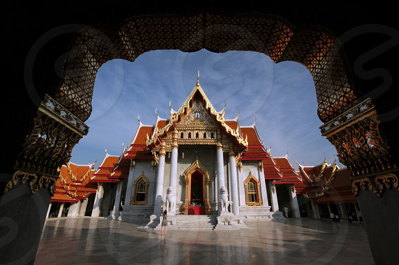 the Wat Benchamabophit  in Banglamphu in the city of Bangkok in Thailand in Suedostasien. photo