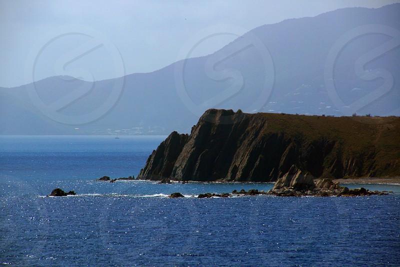 brown sea cliff photo