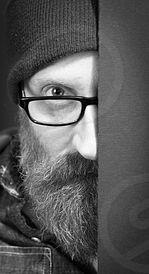 Portrait; self; black and white; gray; beard ; glasses; shadow photo