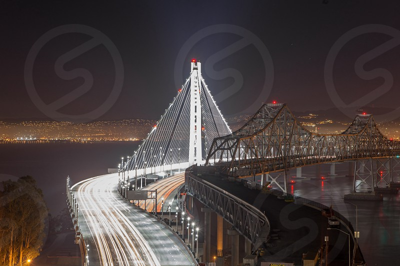 golden gate bridge on night view photo