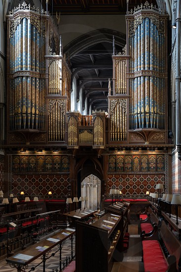 ROCHESTER KENT/UK - MARCH 24 : View of the organ in the Cathedral at Rochester on March 24 2019 photo