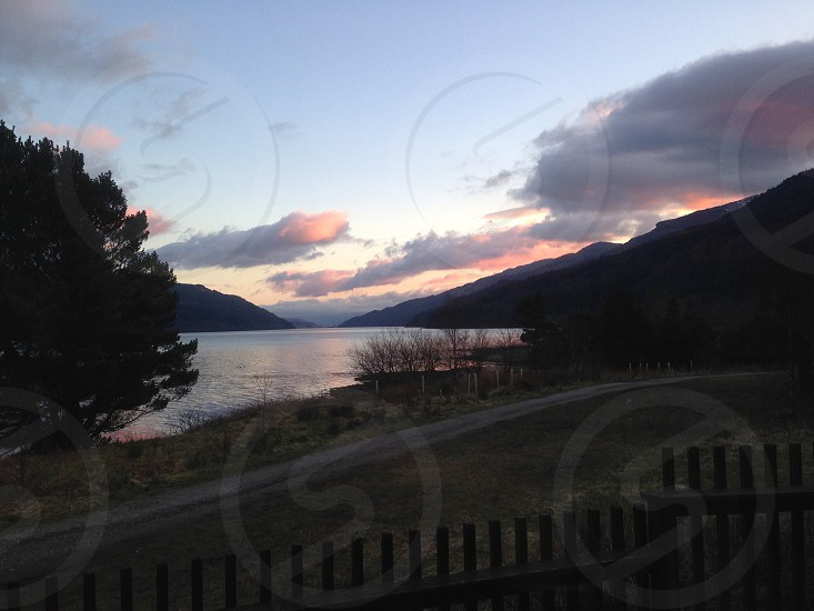 Loch Long Scotland at sunset photo