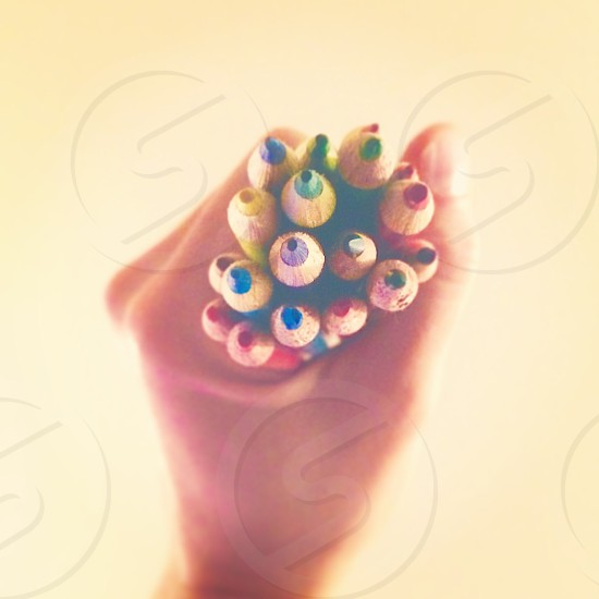 Color colored pencils hand art supplies abstract  photo
