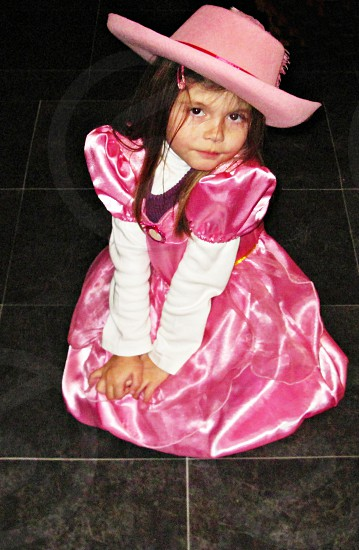 little girl with silky dress photo