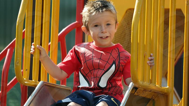 Happy Kid Child Children Park Slide Fun photo