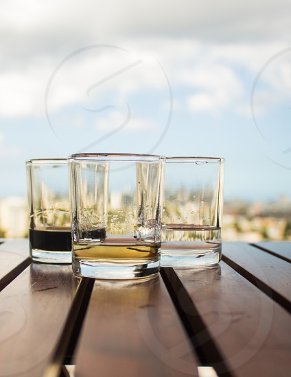clear round based drinking glass photo