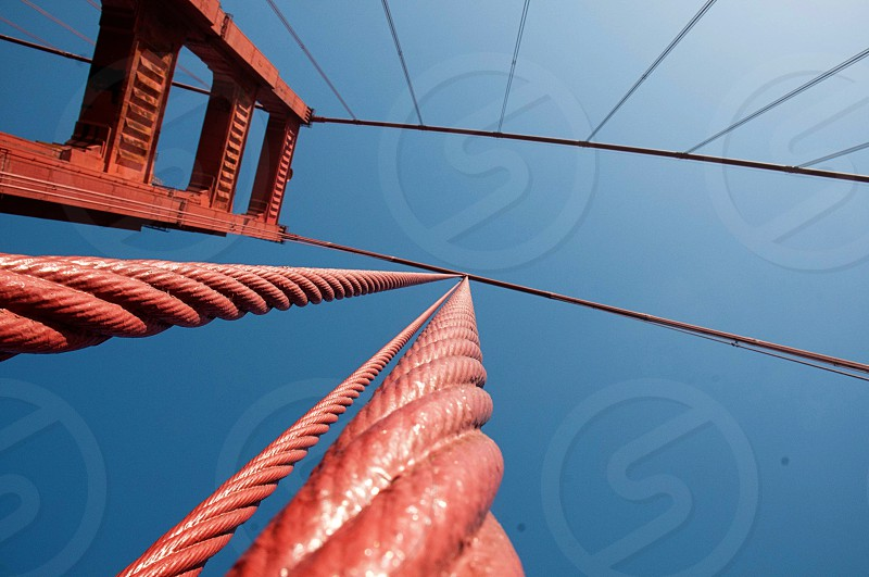 Looking up at the Golden Gate Bridge photo