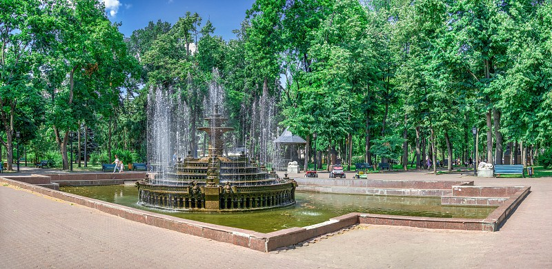 Chisinau Moldova – 06.28.2019. Fountain in the Central Park of Stefan cel Mare Chisinau Moldova on a sunny summer day photo