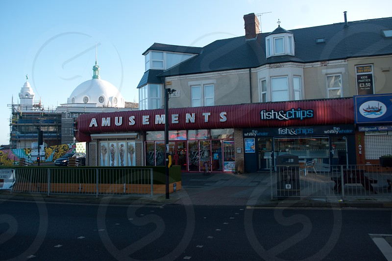 Amusement arcade and Spanish City Dome on seafront at Whitley Bay photo