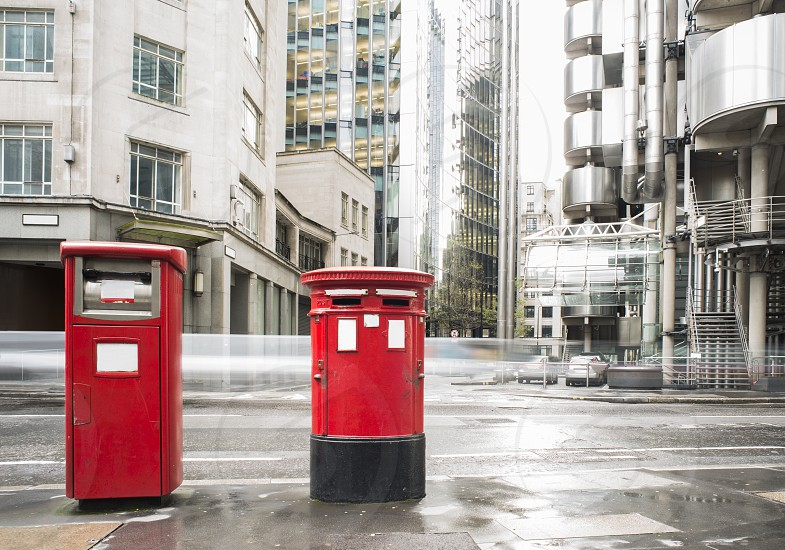 English style red mailboxes vintage buildings photo