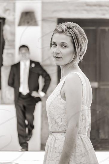 wedding bride fiance black & white city street costume dress look eyes beauty couple photo