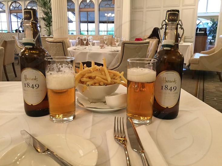 Harrods LondonEnglandbeerFrench fries photo