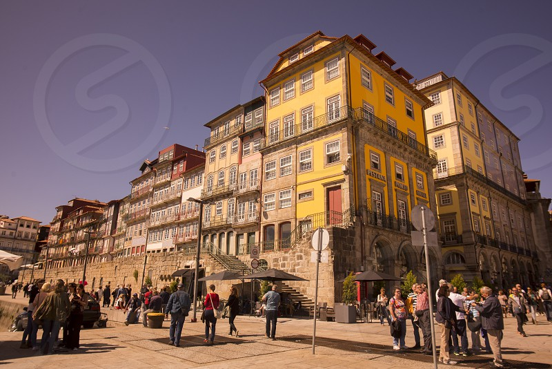 a square in the old town in Ribeira in the city centre of Porto in Porugal in Europe. photo
