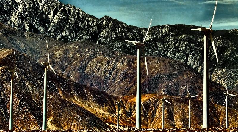 Windmill farm near San Jacinto mountains in Palm Springs. photo