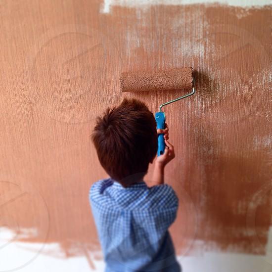 Little helper boy kid home work  photo
