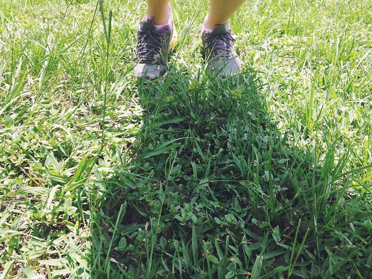 Workout outside sweat trainer running push-up grass nature shoes fitness photo