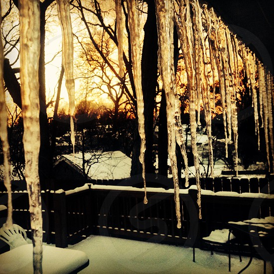 icicle hanging from roof photo