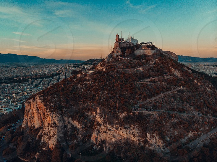 Aerial view drone Footage of Mount Lycabettus Athens Attica Greece photo