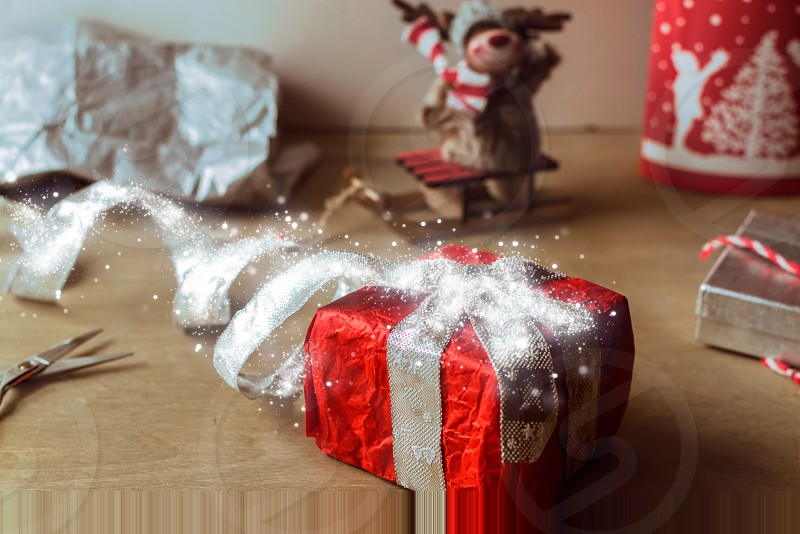 Packaging and wrapping  Christmas gifts boxes photo