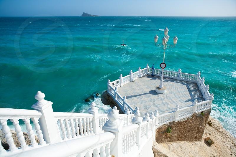 Benidorm balcon del Mediterraneo and sea from white balustrade Alicante Spain photo