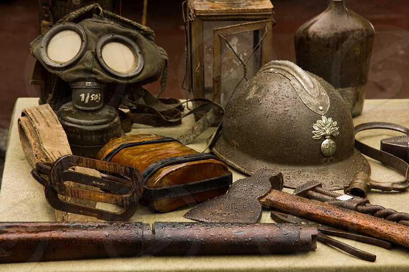 Military items from the first world war. photo