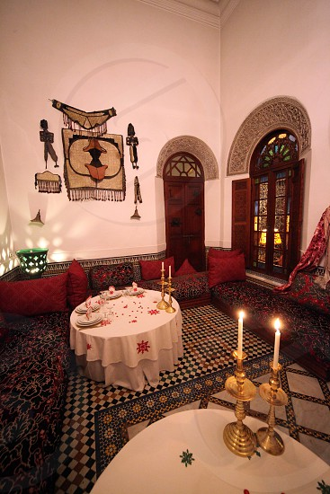 A Restaurant in the old City in the historical Town of Fes in Morocco in north Africa. photo