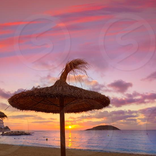 Mallorca sunrise in Magaluf Palmanova beach Magalluf in Balearic Islands Spain photo