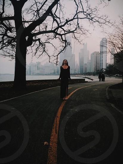 women's black dress photo