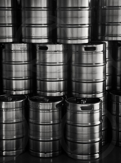 Beer kegs inside craft beer brewery photo
