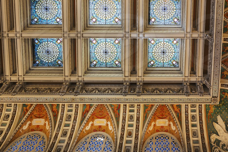 Washington D.C. USA october 2016: decorated ceiling inside the great hall of the library of congress in Washington D.C. USA photo