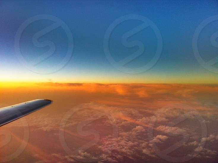Sunset Private jet blue orange clouds no filter photo
