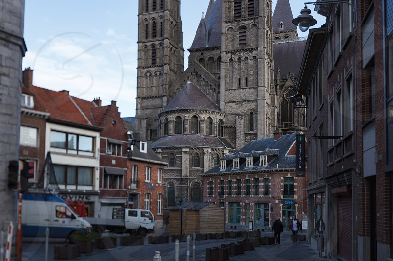 walk through the beautiful streets of the ancient city in Europe Belgium Mons photo