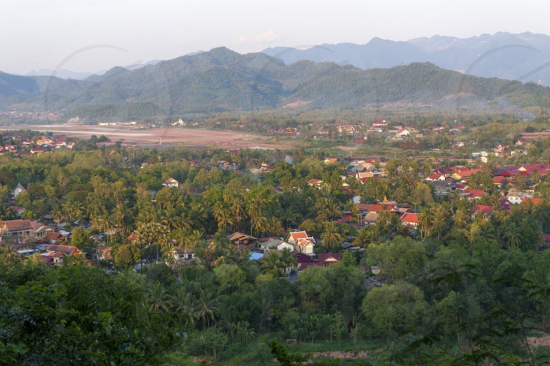 Aerial view of Luang Prabang UNESCO World Heritage Town in northern Laos seen from Phou Si Mountain photo