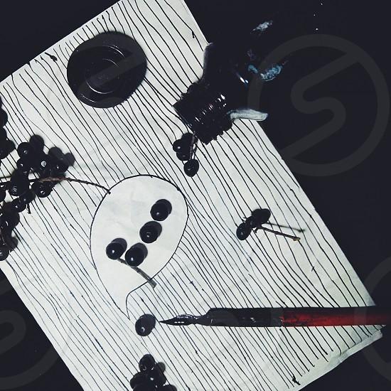 boo word ink nib black berries pen paper photo