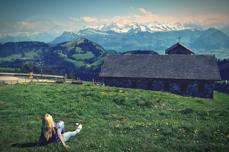 Swisssuizaswidzelandalpsviewnatureblondehairblondegirlnature photo