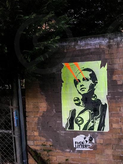 Street art graffiti litter trash garbage laser eyes urban street photo