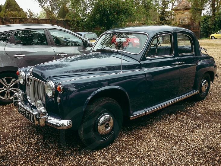 Classic Rover P4 deep blue cars baby blue leather interior photo