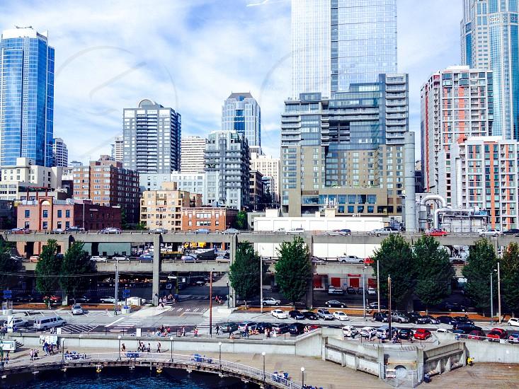 Seattle city traffic cars urban life west coast Washington highway parking lot photo