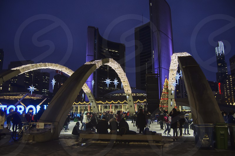 Skaters at Nathan Phillips Square on Christmas Eve. photo