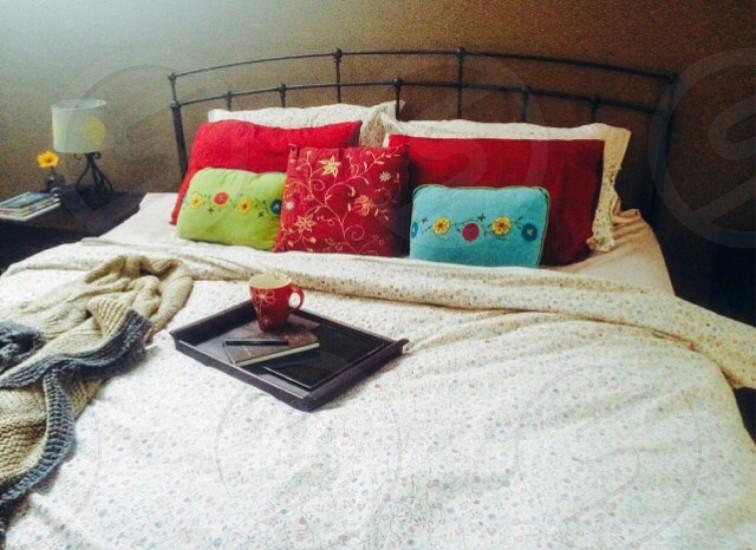 Bedroom bedding pillows bed cozy decor interior design home comfort decorating coffee color photo