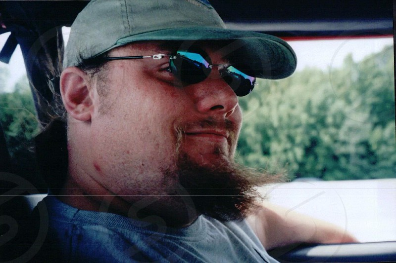 Happy and relaxed I took this selfie while in the wilds of northern Michigan while trail riding in my Jeep. photo