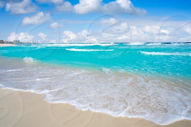 Cancun caribbean white sand beach in Mayan Riviera of Mexico photo