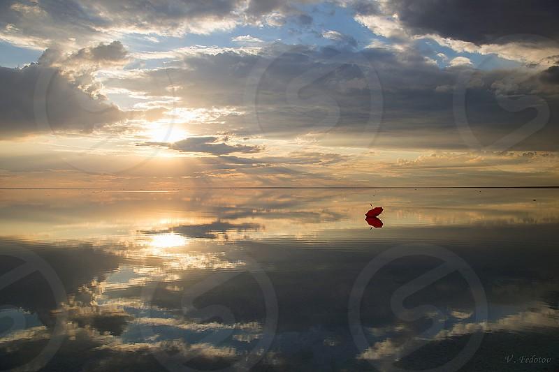 The photo was taken in 2016 on a unique salty lake Elton where Russia borders Kazakhstan . photo