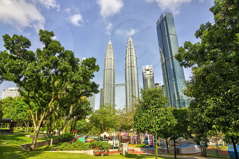 playground at the klcc park write there is a good view of petronas twin towers photo