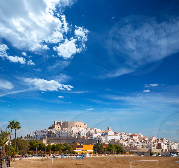 Peniscola Castle and beach in Castellon Valencian community of spain photo